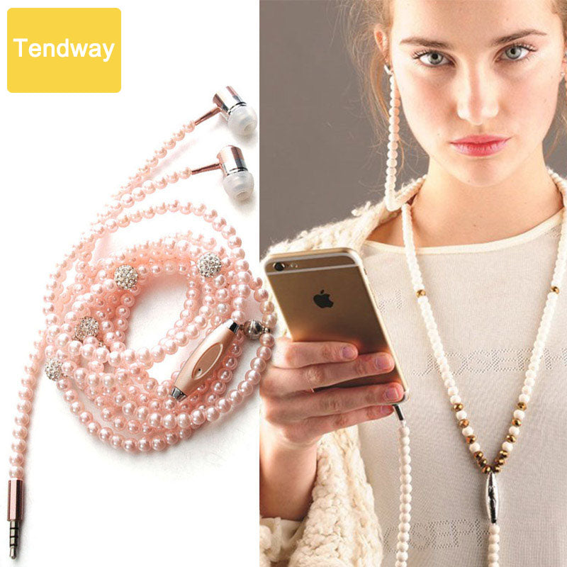 Pink girl Rhinestone Jewelry Pearl Necklace Earphones With Microphone Earbuds For Iphone