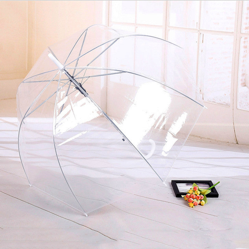 Hot Sale Long Handle Transparent Umbrella Rain Women Automatic Creative Rainy Clear Transparent 8K Umbrella Outdoor Tools