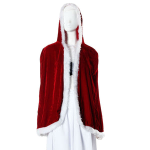 1 M Deluxe Red Velvet Christmas Hooded Cape Cloak Costume women Fashion