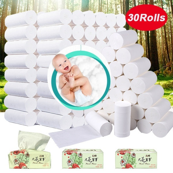 Tissues Rolls of Toilet Paper Bamboo Pulp Color Roll Paper Household Affordable Toilet Paper Hand Paper Coreless Roll Paper