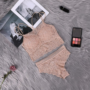 Transparent Lace Bra and Panty Set Women Sexy Lingerie Intimates Ladies Underwear Set Fashion Bra & Brief Sets Solid Color