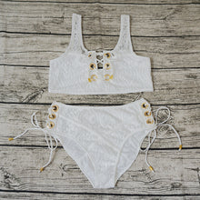 Load image into Gallery viewer, Blcak White Lace Suit Swim
