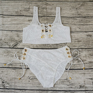 Blcak White Lace Suit Swim