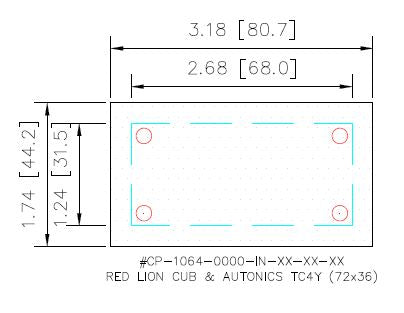 Cover Plate - Red Lion Cub & Autonics TC4Y 72x36 - HMIAdapterPlate