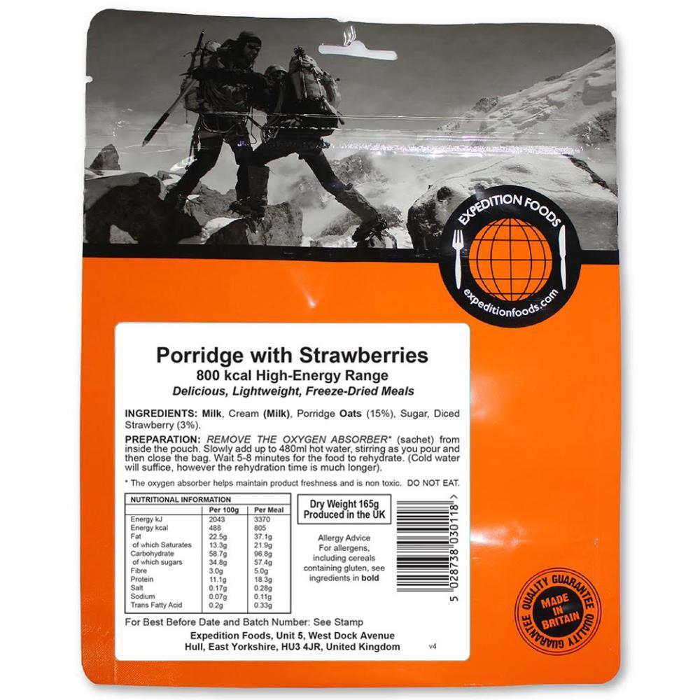 Expedition Foods Porridge with Strawberries (800kcal), dried camping food pack