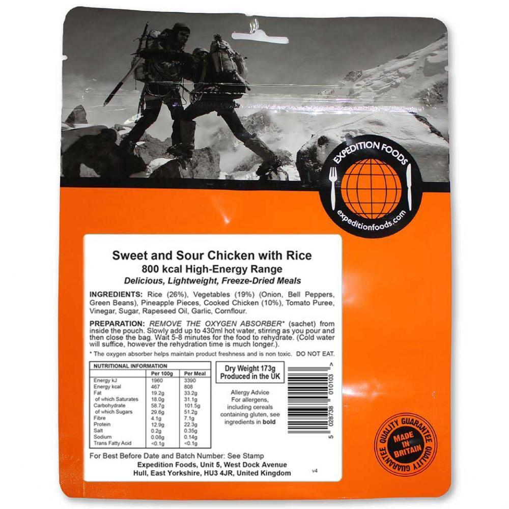 Expedition Foods Sweet and Sour Chicken with Rice, dried food pack showing front cover