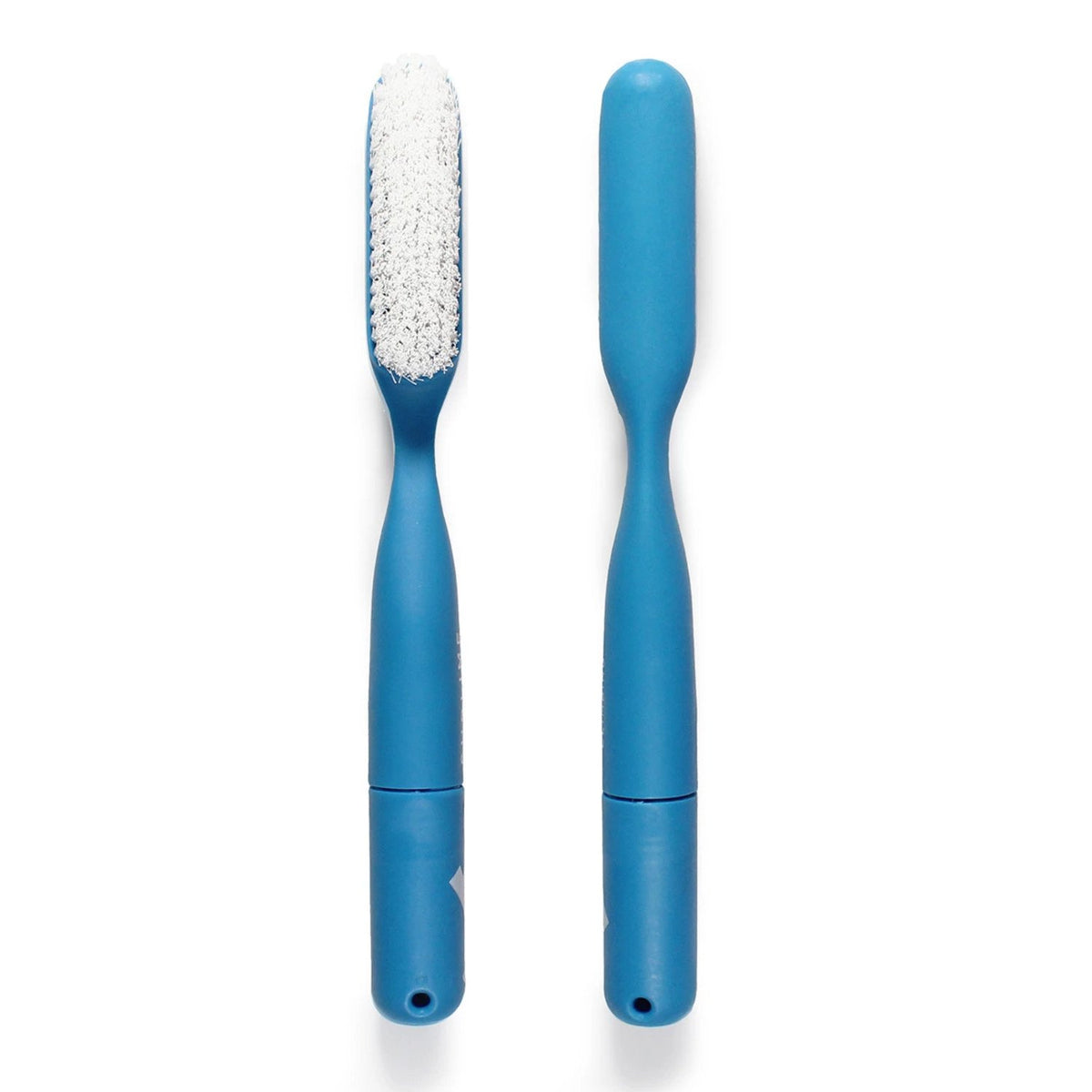 Sublime Climbing Nylon Brush, Front and back view with a blue handle and white bristles
