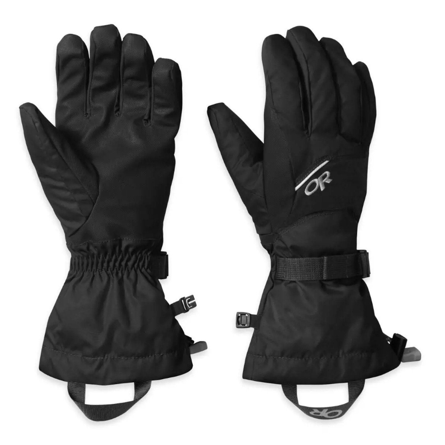Pair of Outdoor Research Adrenaline Gloves side by side, one showing front and one showing reverse