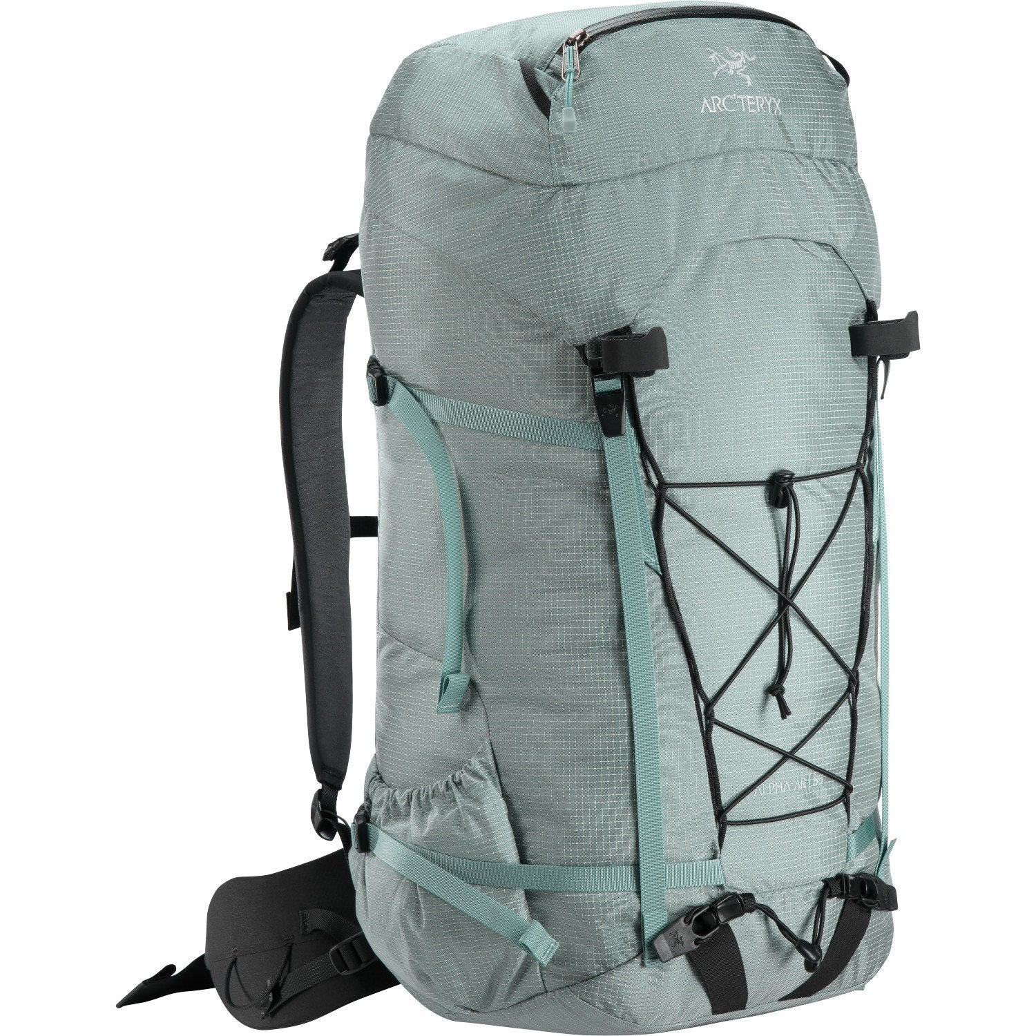 Arc'Teryx Alpha AR 55 in grey showing elastics on rear and ice axe holders