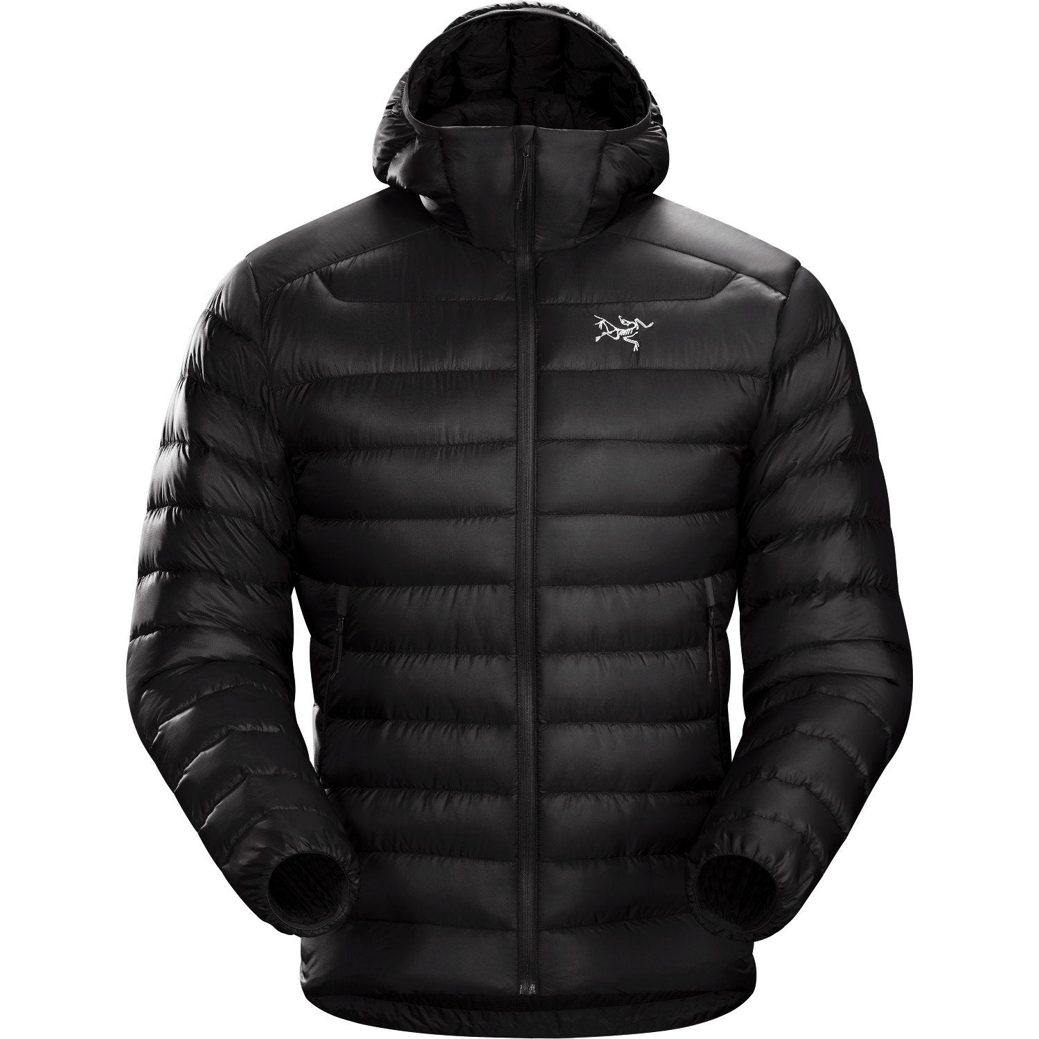 Arc'Teryx Cerium LT in Black colour, front view shown fully zipped up