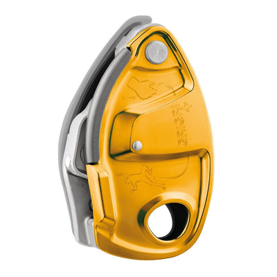 Petzl Grigri + climbing belay device, in gold colour
