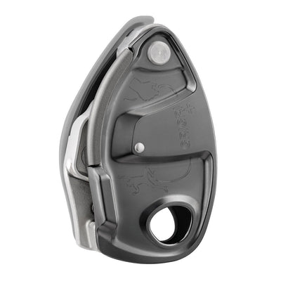 Petzl Grigri + climbing belay device, in grey colour