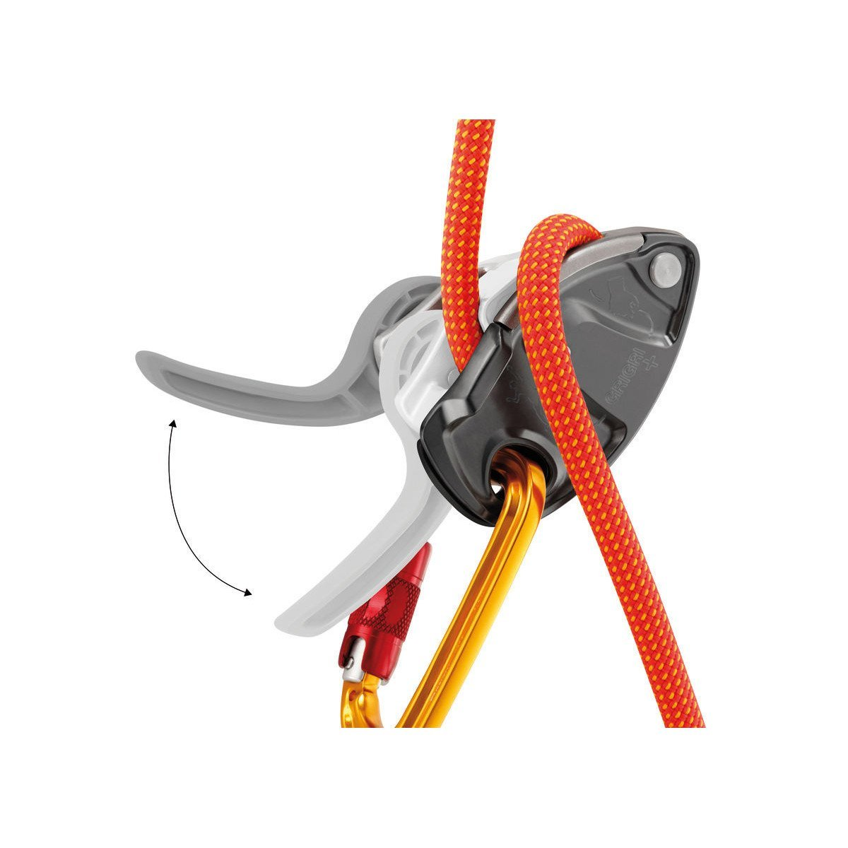 Petzl Grigri + belay device, showing closed in use closed with rope