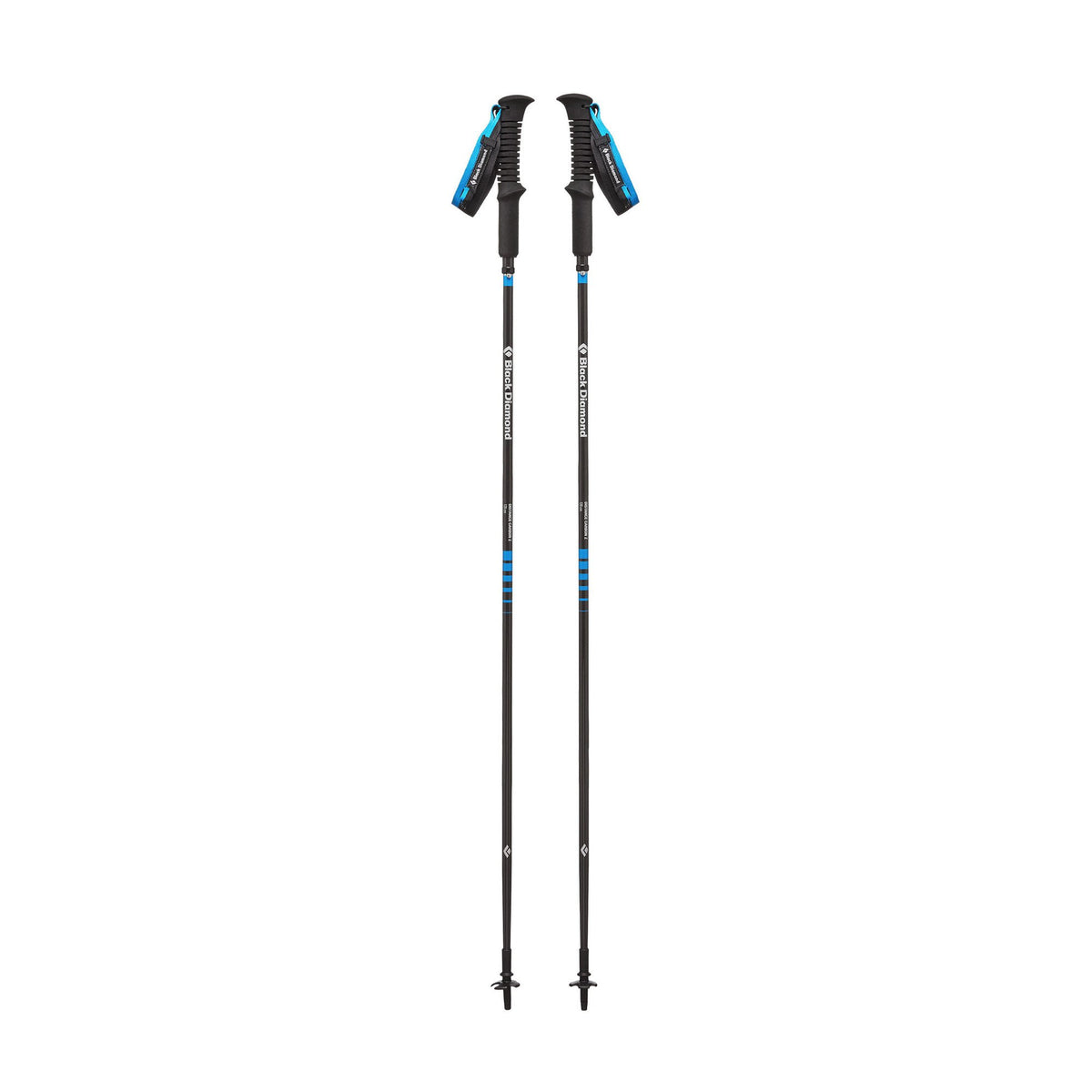 Pair of Black Diamond Distance Carbon FLZ poles shown fully extended and stood upright