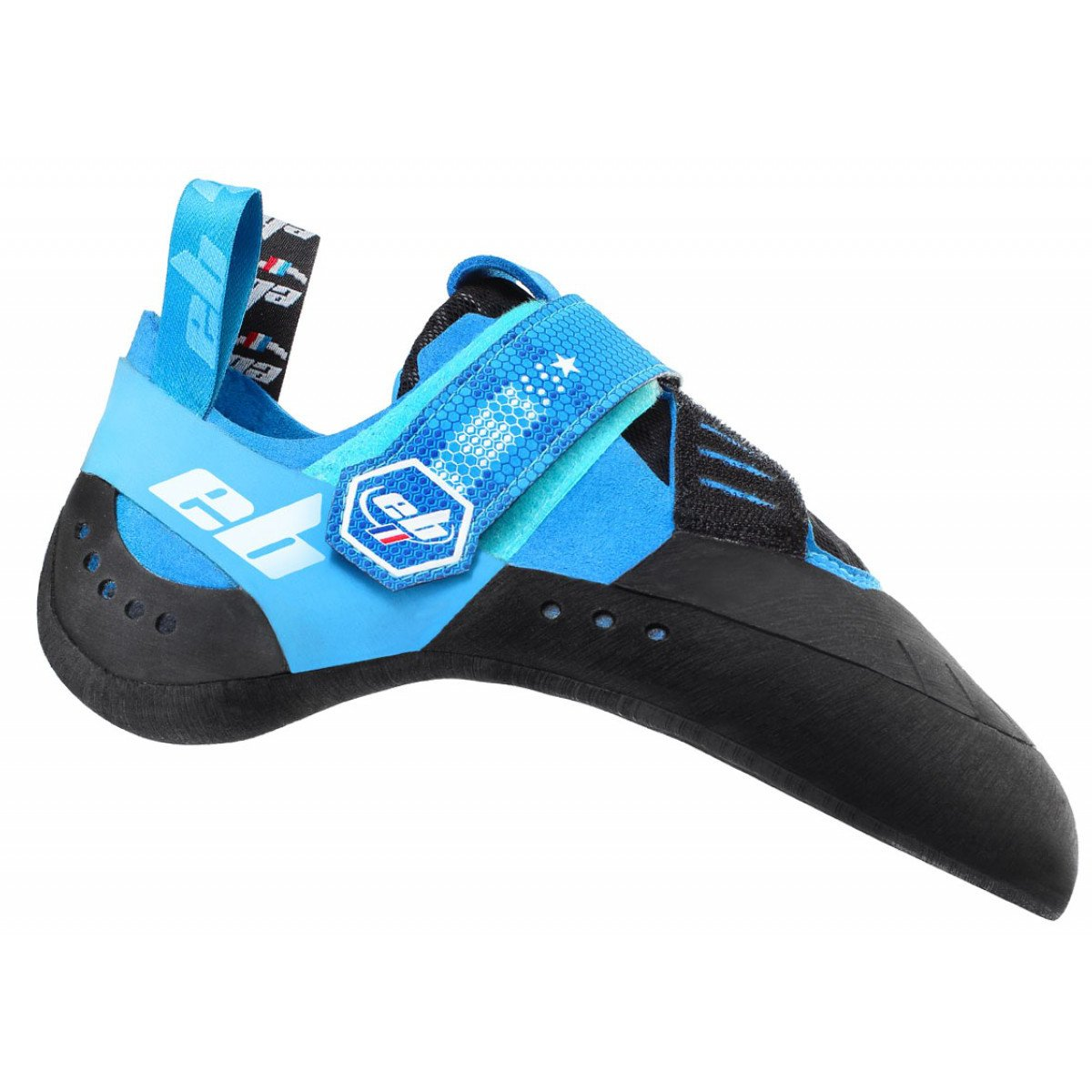 EB Nebula climbing shoe, outer side view in blue and black colours, showing strap closure