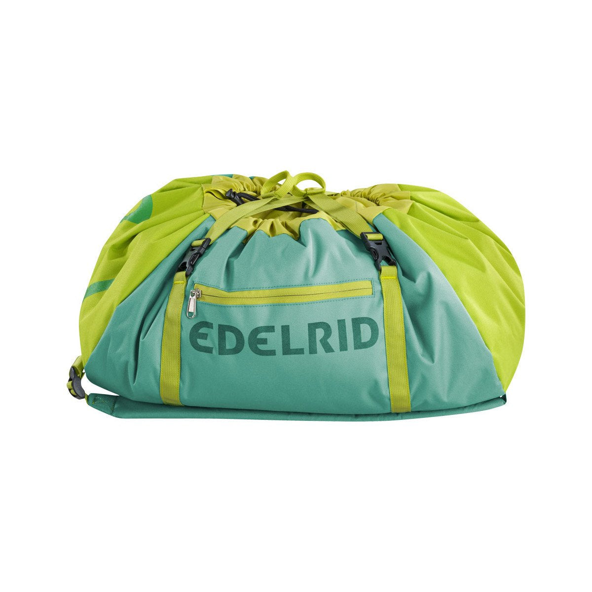 Edelrid Drone II climbing Rope Bag, shown closed in green and yellow colours