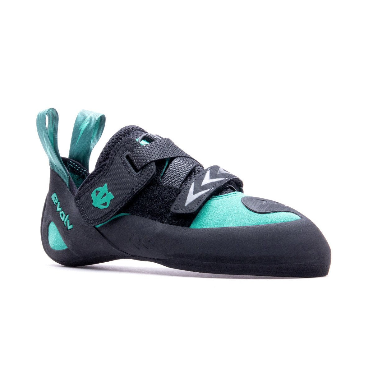 Evolv Kira Womens Climbing Shoe, front/side view in green and black colours