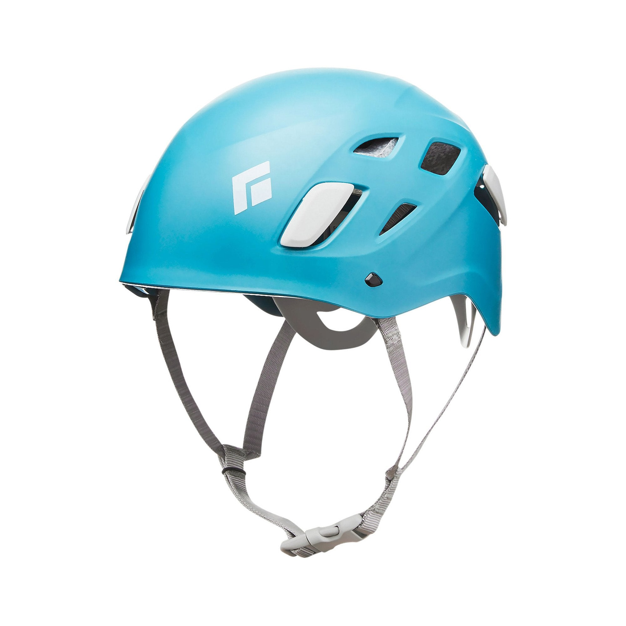 Black Diamond Half Dome Womens climbing helmet, front/side view, in blue colour with grey chin strap