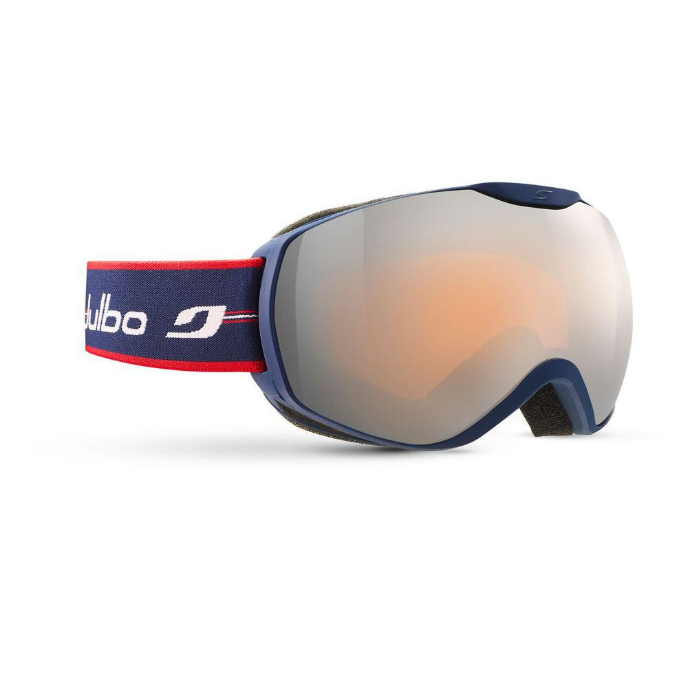 Julbo Ison Spectron Cat 3 Goggles, front/side view with red and blue strap