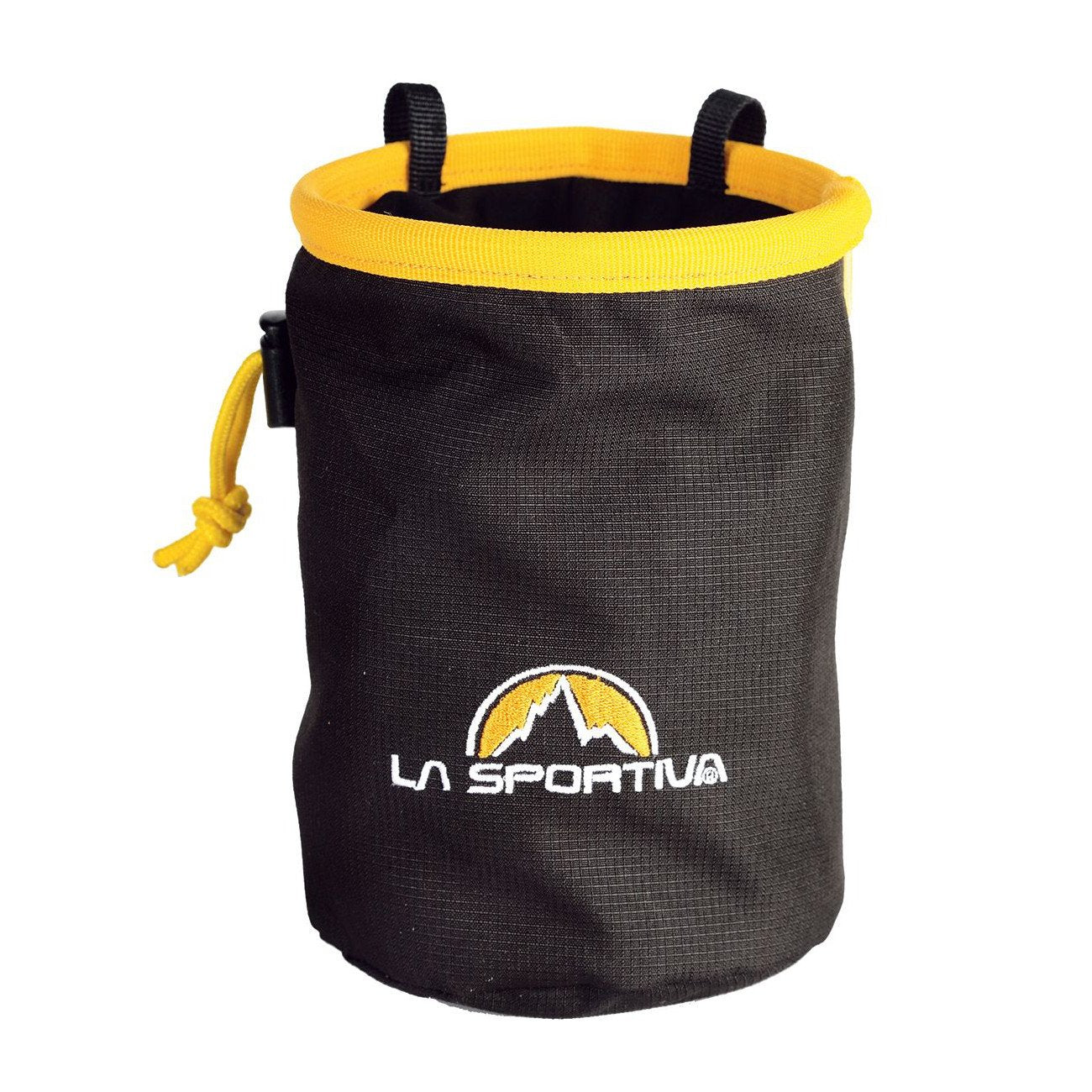 La Sportiva Chalk Bag, front view in black and yellow colours