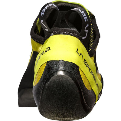 La Sportiva Miura climbing shoe, view from the rear showing the heel design detail.