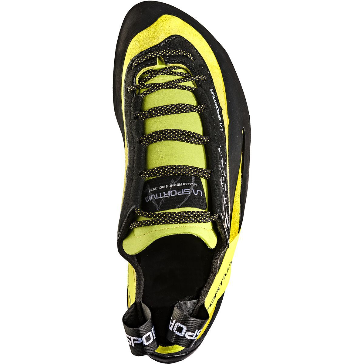 La Sportiva Miura climbing shoe, view from above showing the lace detail