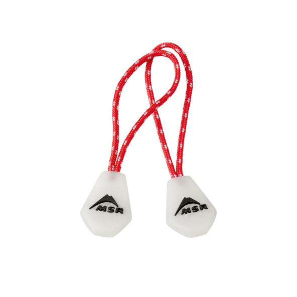 MSR Night Glow Zipper Pulls, pair shown side by side in white and red colours