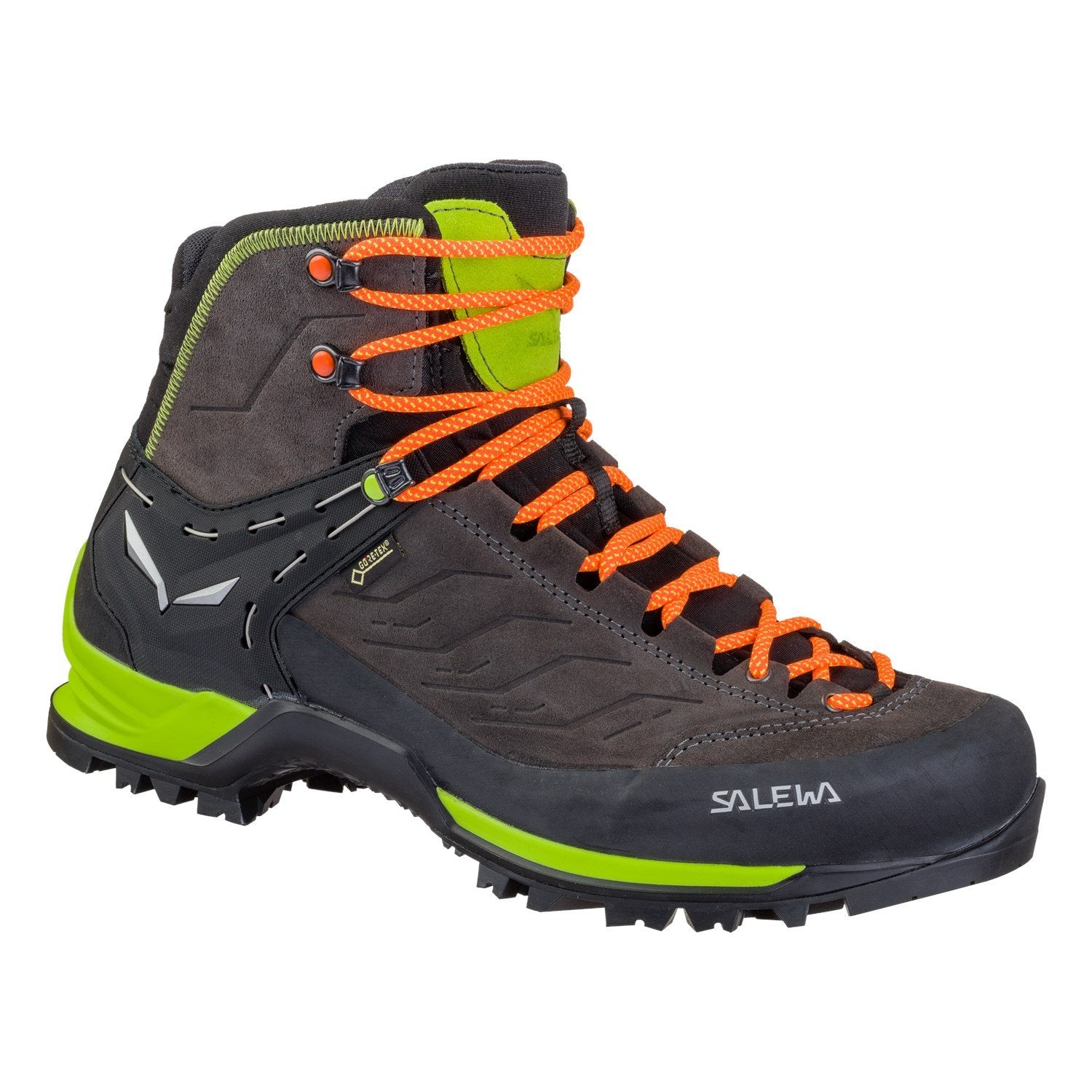 Salewa MTN Trainer Mid GTX trekking boot, in black, green and orange colours