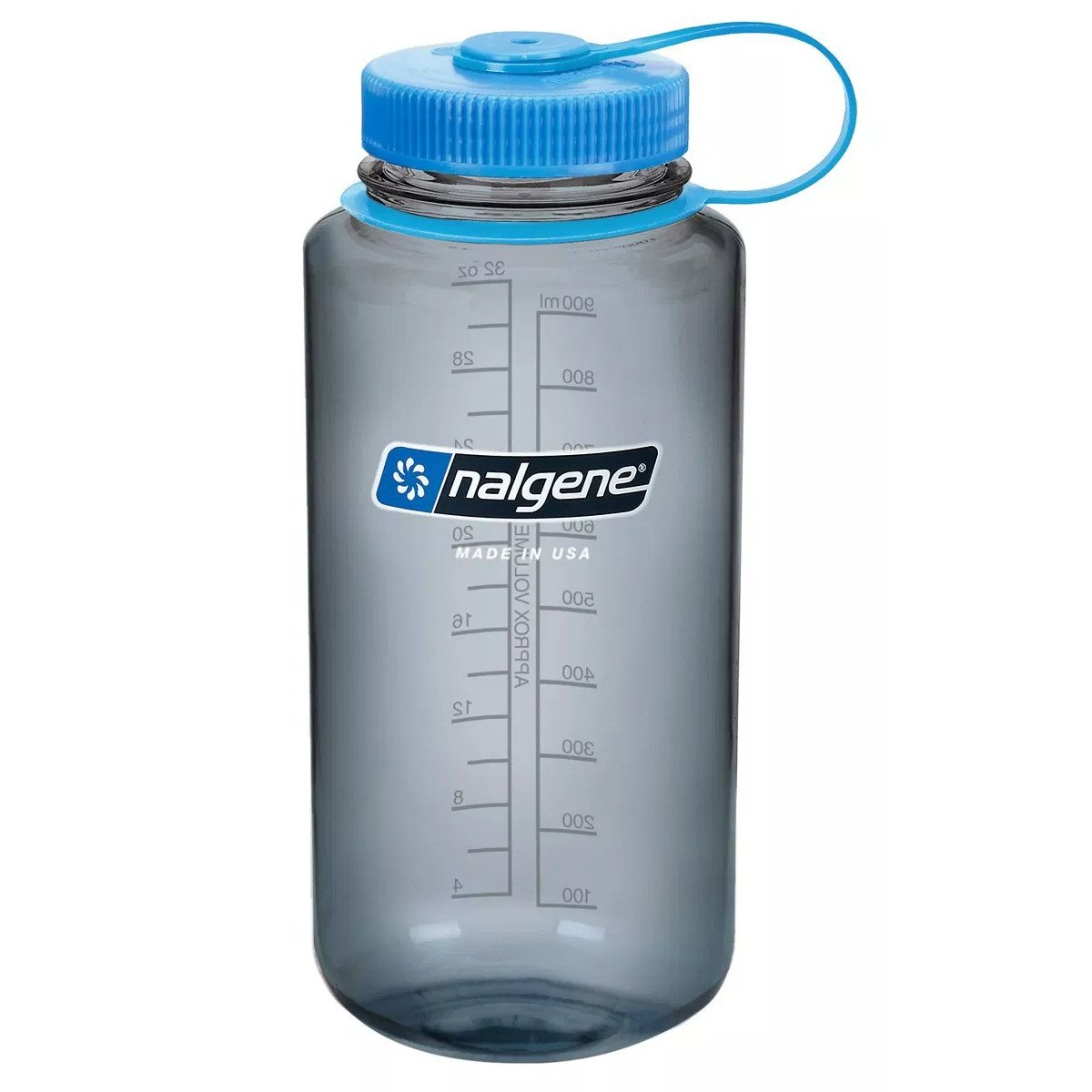 Nalgene Tritan Wide Mouth 1 Litre Bottle, with a clear bottle and blue lid