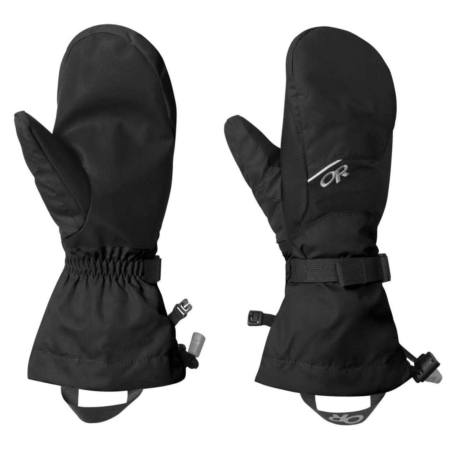 Pair of Outdoor Research Adrenaline Mitts shown side by side, front and reverse views in black