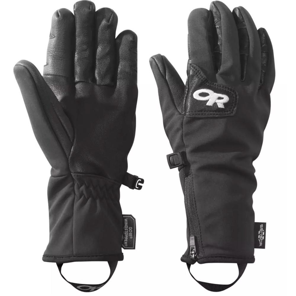 Pair of Outdoor Research Stormtracker Sensor Gloves Womens, in black showing front and reverse