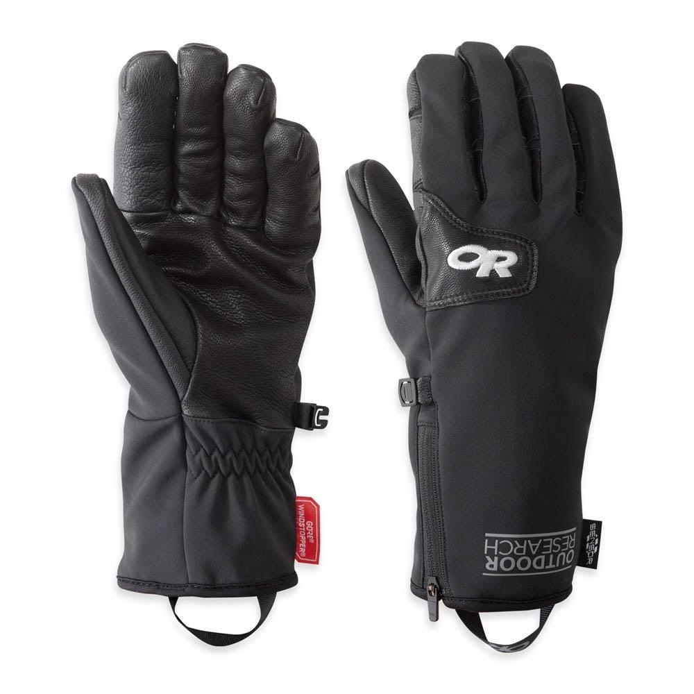Pair of Outdoor Research Stormtracker Sensor Gloves in Black, showing front and reverse