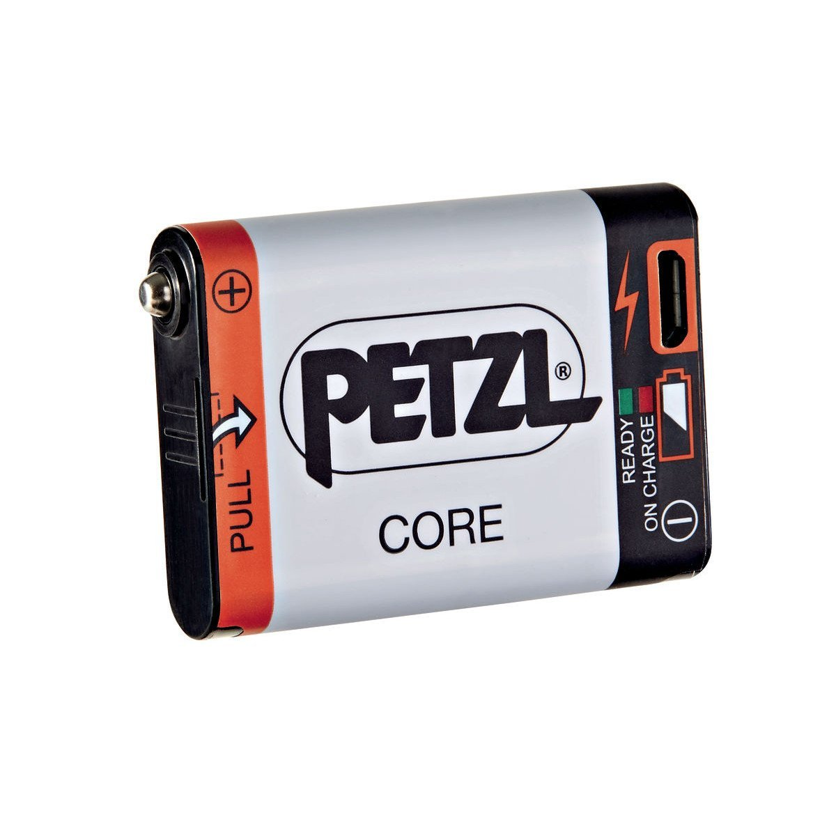 Petzl Core Battery showing the Charging area and illustrations on battery