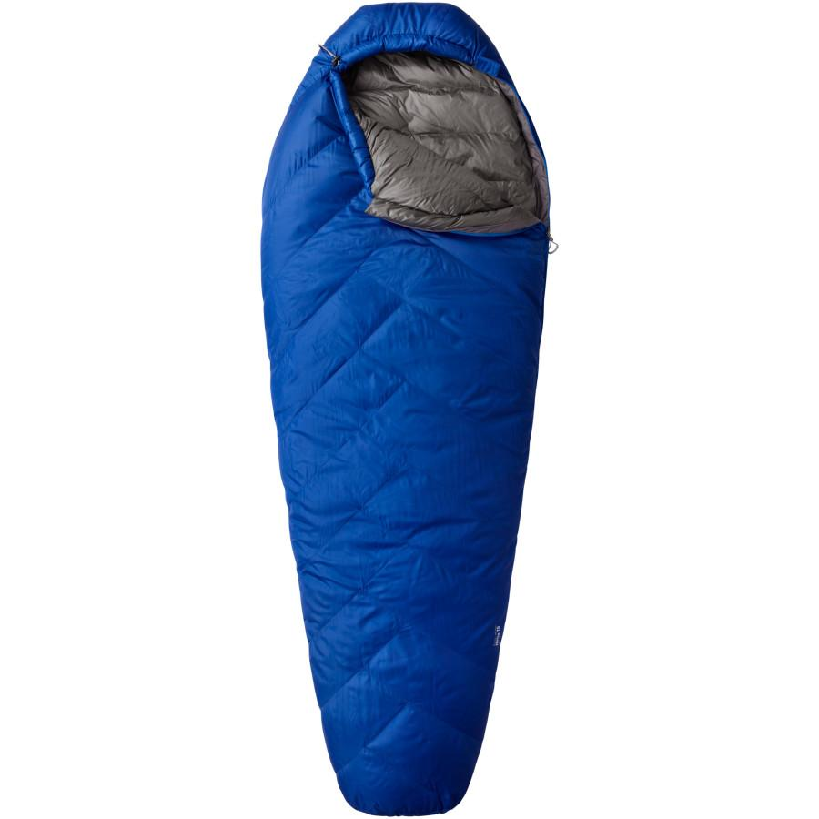 Mountain Hardwear Ratio 15 sleeping bag, shown laid flat in blue colour with grey lining