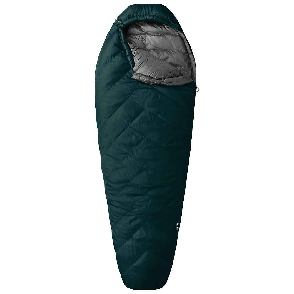 Mountain Hardwear Ratio 32 sleeping bag, shown laid flat in green colour with a grey lining