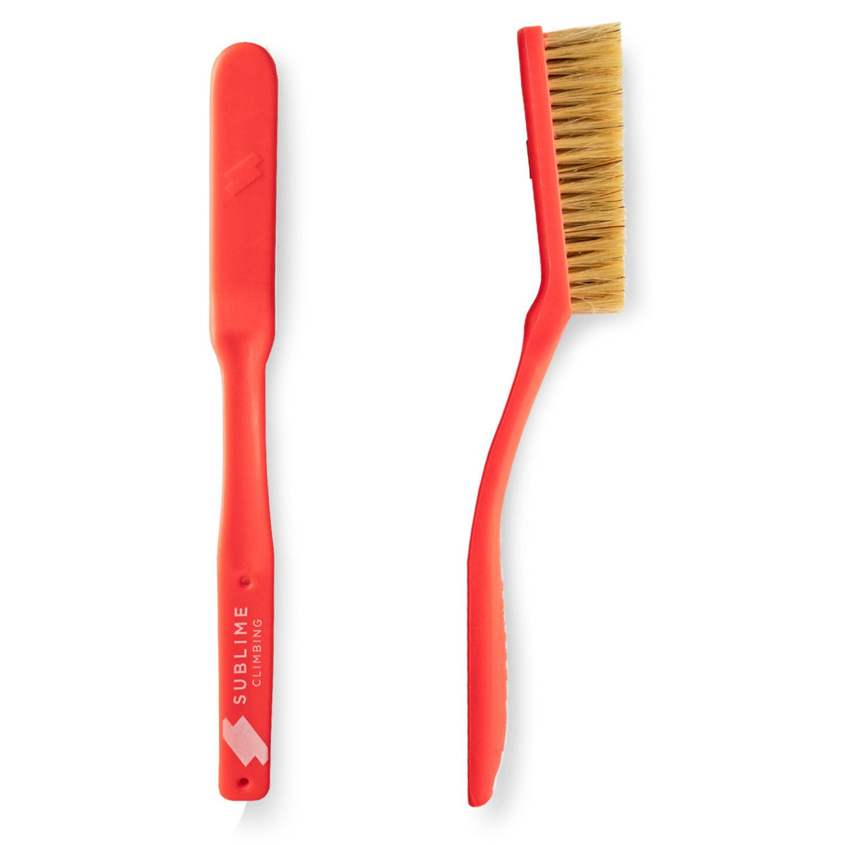 Pair of Sublime Climbing Slimline Boars Hair Brushes, showing reverse and side view, in red colour