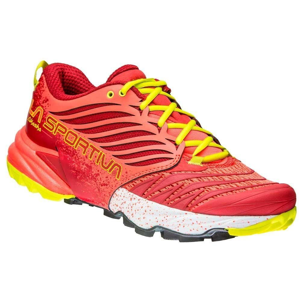 La Sportiva Akasha Womens running shoe, outer side view in red and yellow colours