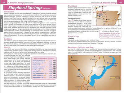 Arkansas Rock Climbing guide, inside page examples showing maps and text