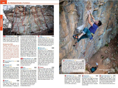 Arkansas Rock Climbing, inside page examples showing photos and route desriptions