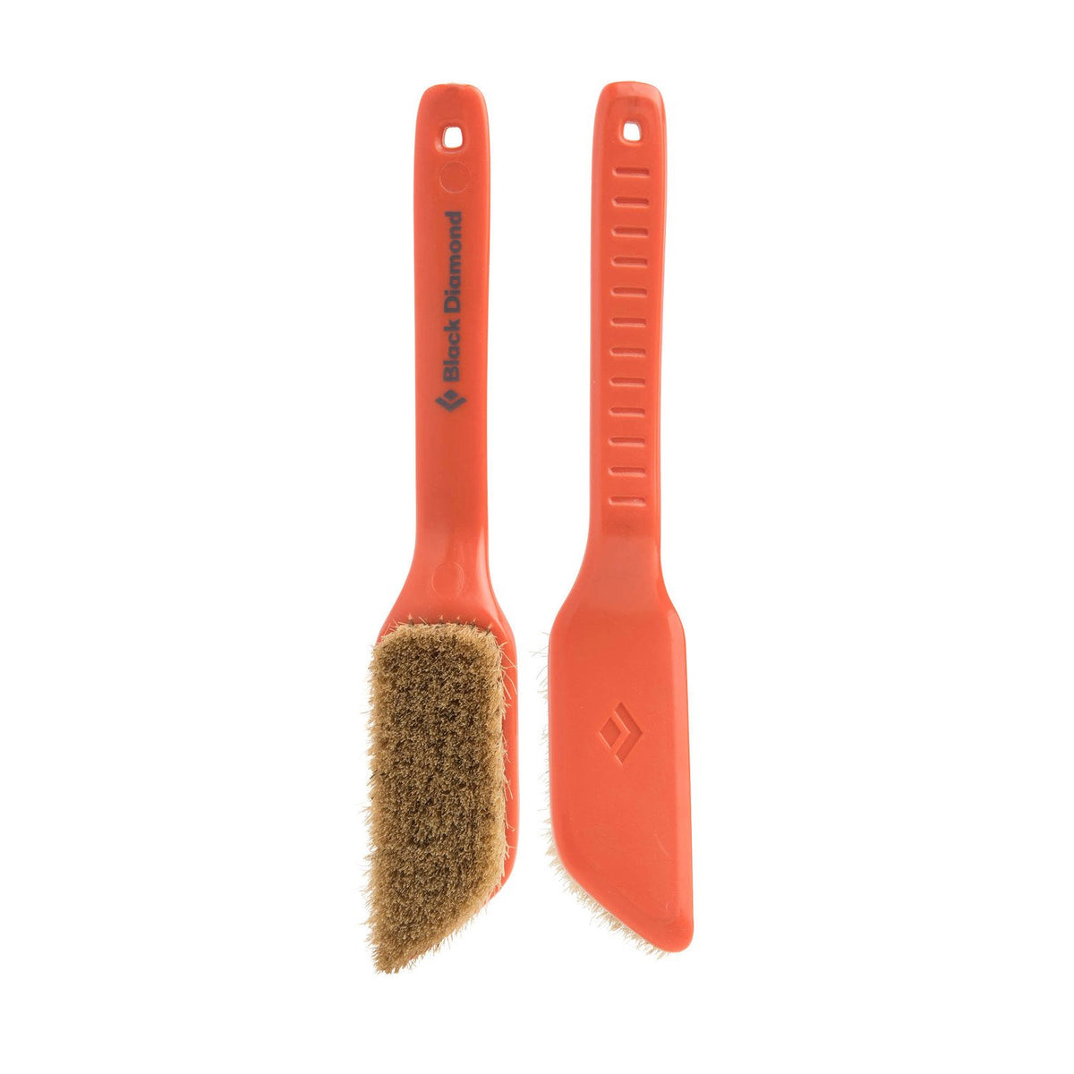 Pair of orange Black Diamond Boars Hair Brushes - Medium, 1 shown facing and 1 shown in the reverse
