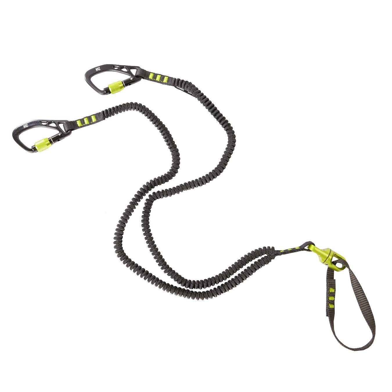 Black Diamond Spinner Leash in Green and Black with Screw gates, stretchy lanyard and Spinner