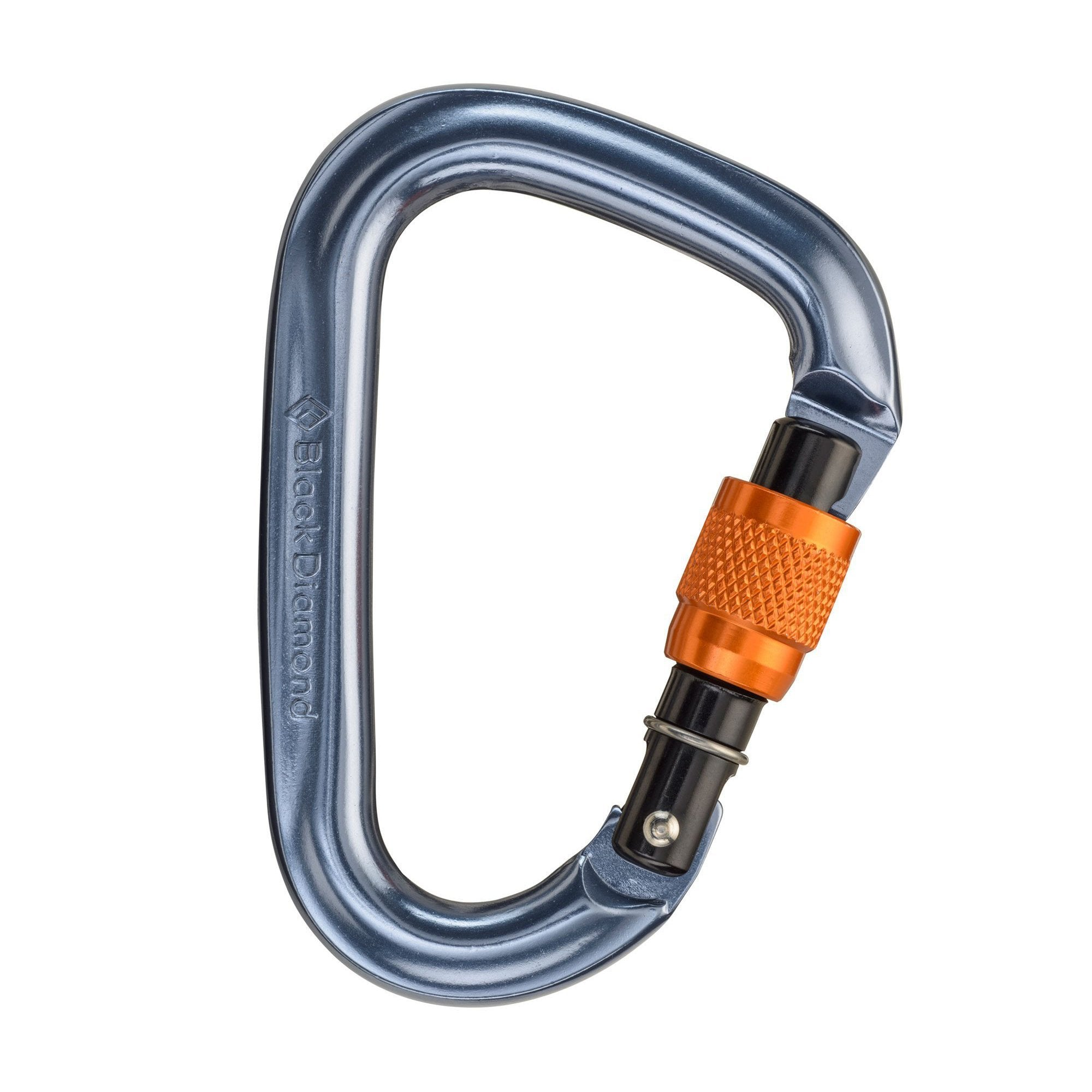 Black Diamond Mini Pearabiner, locking climbing carabiner in silver and orange colours