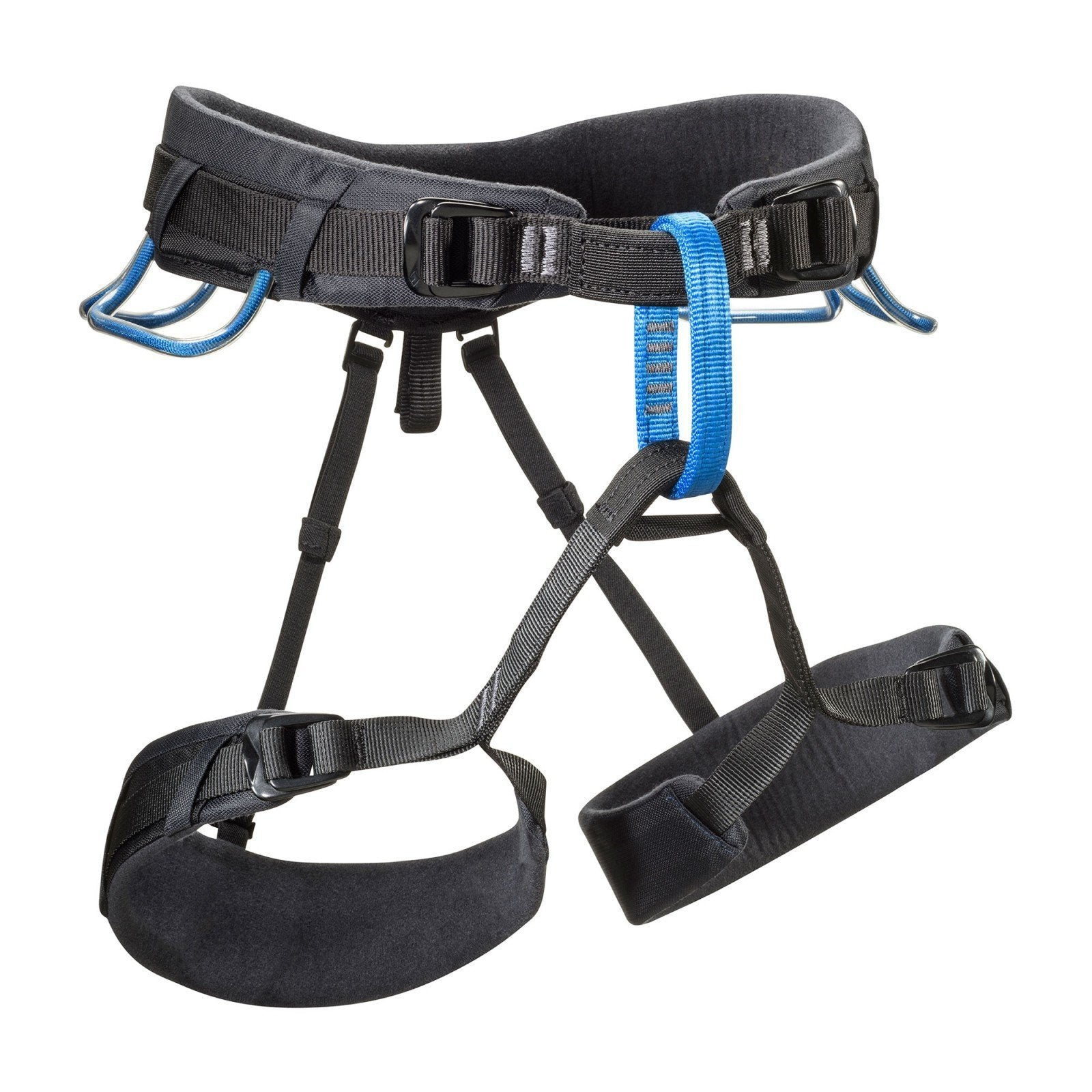 Black Diamond Momentum DS Harness, front/side view in black and blue colours