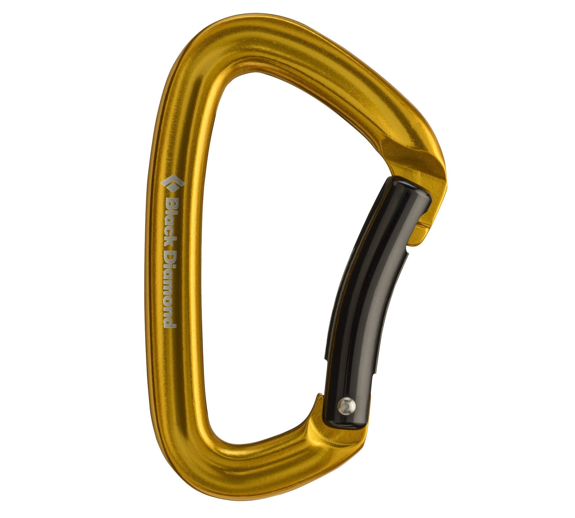 Black Diamond Positron Bent-gate climbing carabiner, in gold colour with black gate
