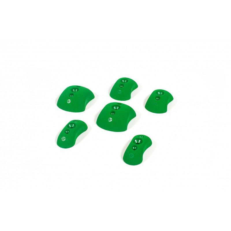 Bleaustone Training Range-Low Profile-Positive-Pinch holds, showing 6 pieces in green colour