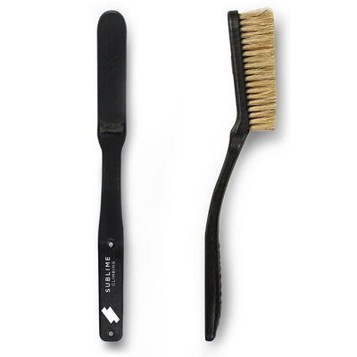 Pair of Sublime Climbing Slimline Boars Hair Brushes, showing reverse and side view, in black colour