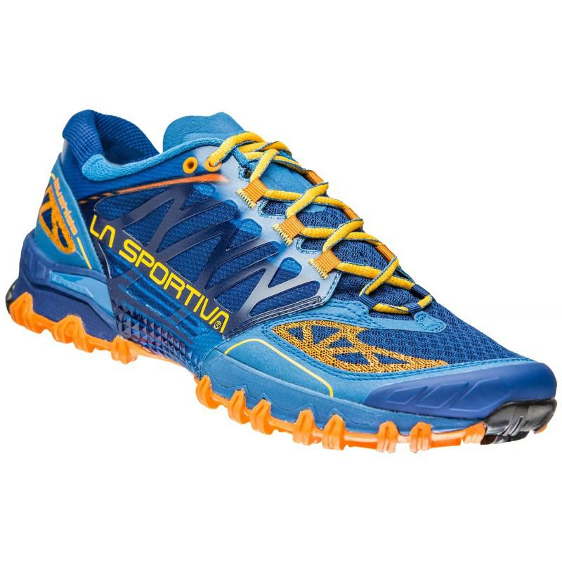 La Sportiva Bushido trail running shoe, outer side view in blue/orange and yellow colours