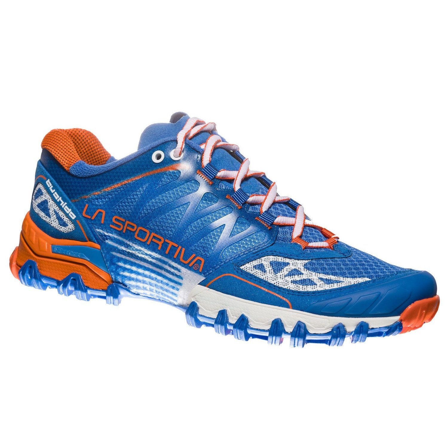 La Sportiva Bushido Womens trail running shoe, outer side view in blue, white and orange colours