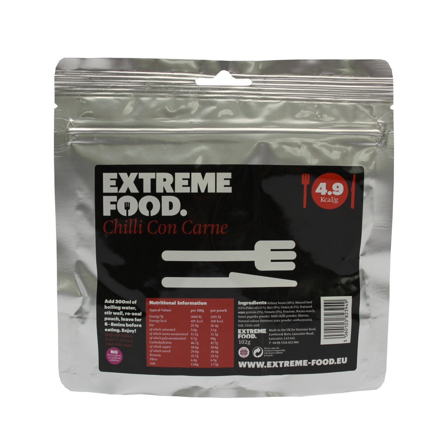 Extreme Food Chilli Con Carne, dried expedition food pack