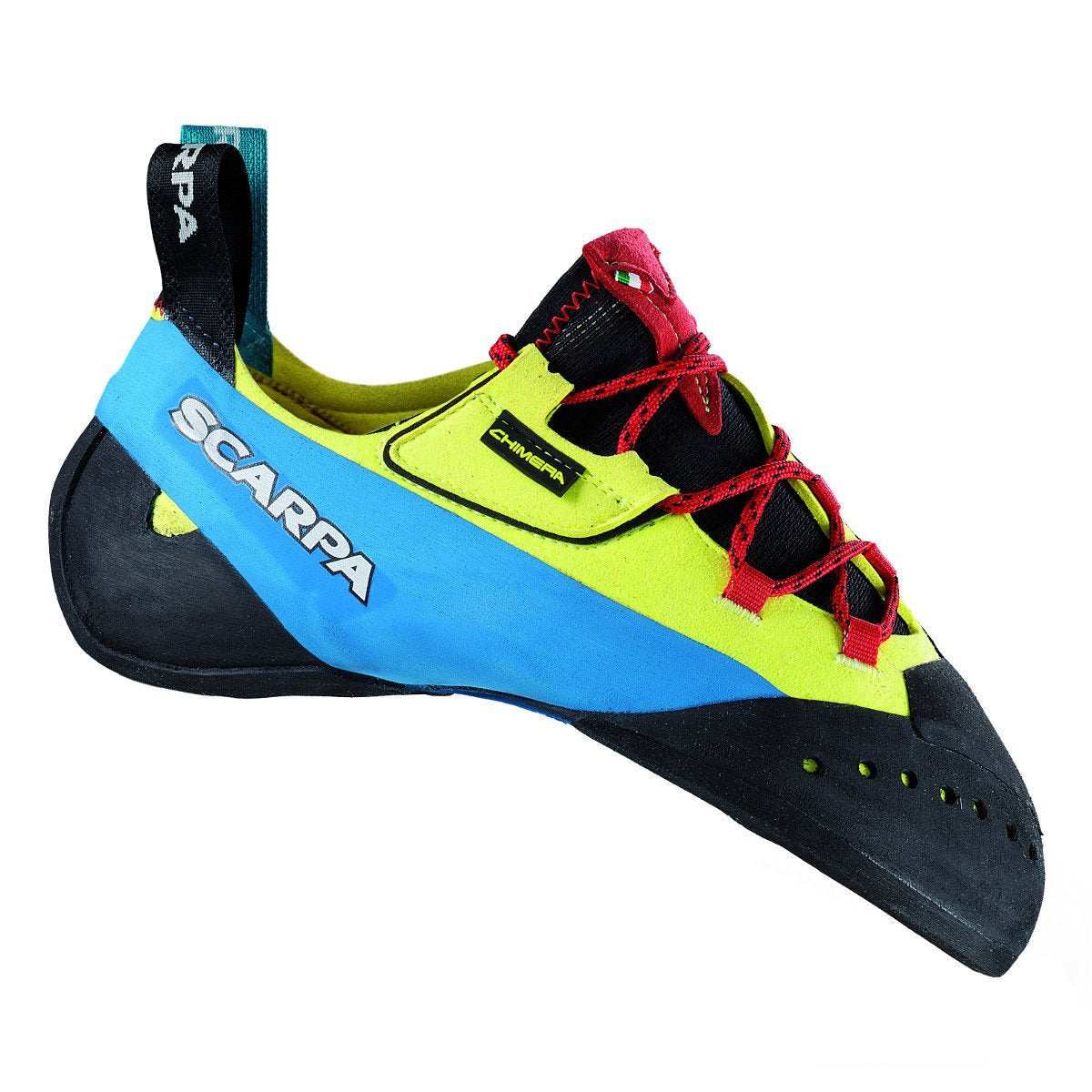 Scarpa Chimera climbing shoe, in black, blue, yellow colours and red laces